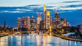 Frankfurt am Main skyline at dusk, Germany Stock Photos