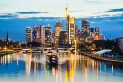 Frankfurt am Main skyline at dusk, Germany Stock Photography