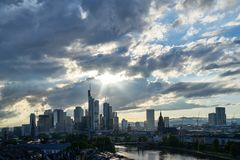 Frankfurt on Main skyline with many clouds in the sky. Frankfurt am Main skyline in the evening with many clouds in the sky Stock Photography