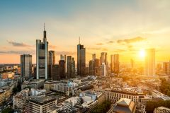 Frankfurt am Main Skyline. During summer Stock Photography