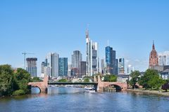 Frankfurt on the Main Skyline in front of a blue sky. Frankfurt on Main skyline in front of a blue sky in summer Royalty Free Stock Image