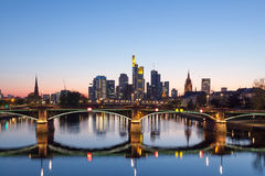 Frankfurt Main skyline at night Stock Photos