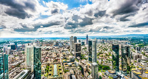 Frankfurt am Main skyline panorama with dramatic clouds Royalty Free Stock Images