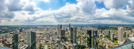 Frankfurt am Main skyline panorama with dramatic cloudscape, Hessen, Germany Stock Image