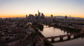 Frankfurt am Main Skyline panorama silhouette at Sunset. View of the Skyline of Frankfurt at the mine river at sunset. ideal for websites and magazines layouts Royalty Free Stock Photos