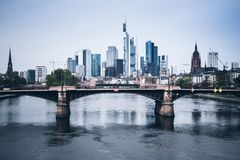 Frankfurt am Main skyline with Main river. On clear day Royalty Free Stock Photo