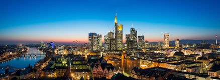 Frankfurt am Main Skyline. During summer Stock Photos