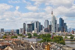Frankfurt am Main skyline in the summer. Frankfurt am Main skyline in summer with many skyscrapers Stock Images