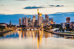 Frankfurt am Main skyline at sunset, Germany Stock Photo