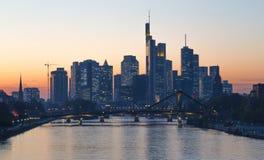 Frankfurt am Main skyline at sunset Hesse Germany Royalty Free Stock Photo
