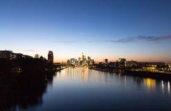 Frankfurt am Main skyline at sunset Hesse Germany Stock Images