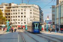 Frankfurt am Main street with a tram Royalty Free Stock Photo