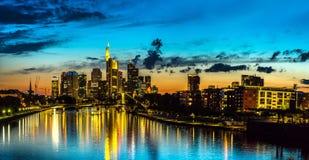 Frankfurt am Main during sunset Stock Images