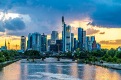 Frankfurt am Main during sunset Stock Photo