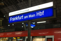 Frankfurt am main train station sign in the evening Stock Image