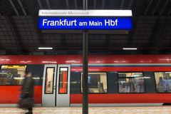 Frankfurt am main train station sign in the evening Royalty Free Stock Photography