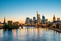 Frankfurt am main urban skyline with skyscrapers building at nig. Ht in Frankfurt, Germany Royalty Free Stock Photography