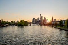 Frankfurt am main urban skyline with skyscrapers building at nig Stock Photography