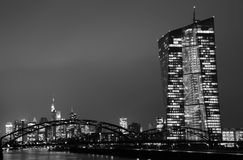 Frankfurt am Main. View of Frankfurt am Main at night in black and white royalty free stock image