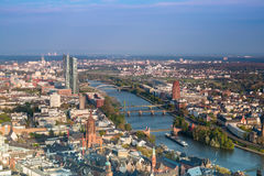 Frankfurt am Main. View over Frankfurt Downtown and Main river Royalty Free Stock Photo