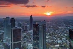 Frankfurt am Main. View over Frankfurt financial district at sunset Stock Image
