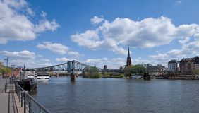 Frankfurt am Maine cityscape - steel bridge Royalty Free Stock Images
