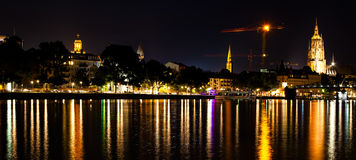 Frankfurt Maine River at Night Stock Photos
