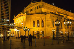 FRANKFURT - MAR 2: Alte Oper at night on March 2, 2013 in Frankf Royalty Free Stock Photos