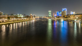 Frankfurt am Mein at night time. Frankfurt at Germany at night time with lights from the bridge Royalty Free Stock Photos