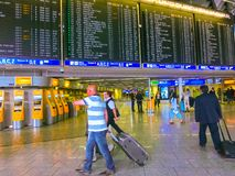 Frankfurt am Mine, Germany - June 15, 2016: The people traveling in Airport. Royalty Free Stock Photos