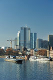 Frankfurt modern city beside Main river Stock Image