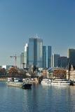 Frankfurt modern city beside Main river Stock Image