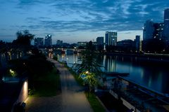frankfurt natt Arkivbilder