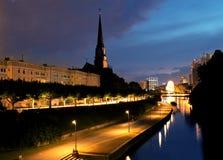frankfurt natt royaltyfria bilder