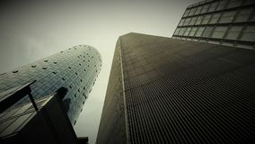 Frankfurt Niemcy drapaczy chmur panoramy widok miasto przy świtem Obraz Royalty Free