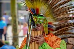 FRANKFURT, NIEMCY - 22 2018 JUL: Rodowitego Amerykanina uliczny wykonawca bawić się egzotycznego muzycznego instrument zdjęcia royalty free