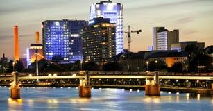 Frankfurt by night. The financial district of Frankfurt by night Stock Photo