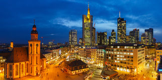 Frankfurt at night Stock Photo