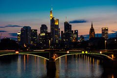 Frankfurt at night Stock Photography