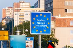 Entrance sign to Federal Republic of Germany at Frankfurt Oder. stock photos