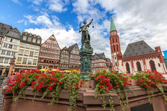 Frankfurt old town. With the Justitia statue. Germany Royalty Free Stock Photos