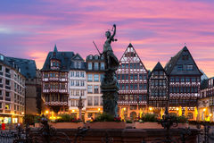 Frankfurt Old town square romerberg with Justitia statue in Fran royalty free stock image