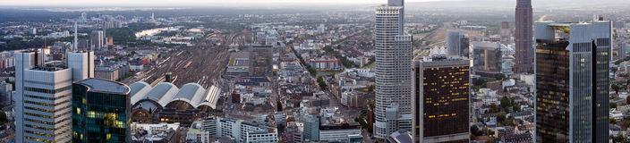 Frankfurt Panorama with Hauptbahnhof Stock Photography