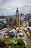 Frankfurt panoramic view with Hauptwache and skyscrapers. Frankfurt, Germany - Aug 18, 2016: Aerial view of Frankfurt with Hauptwache Stock Image