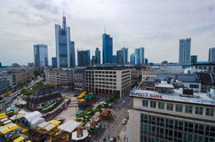 Frankfurt panoramic view with Hauptwache and skyscrapers. Frankfurt, Germany - Aug 18, 2016: Aerial view of Frankfurt with Hauptwache Stock Images