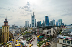 Frankfurt panoramic view with Hauptwache and skyscrapers. Frankfurt, Germany - Aug 18, 2016: Aerial view of Frankfurt with Hauptwache Stock Photo