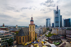 Frankfurt panoramic view with Hauptwache and skyscrapers Stock Image