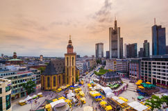 Frankfurt panoramic view with Hauptwache and skyscrapers Stock Photos