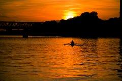 Frankfurt Railway bridge and sunset Royalty Free Stock Photography