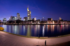 Frankfurt River Panorama at Night Stock Image